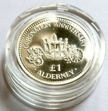 1993 Queen Elizabeth Coronation 40th Anniversary Alderney Silver Proof £1 Coin