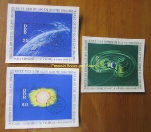 EBS East Germany DDR 1964 International Quiet Sun Year Blocks 20 21 & 22 Used