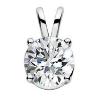 1Ct Round Cut D/VVS1 Diamond 14K White Gold Over Solitaire Pendant Without Chain