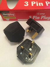 NEW Genuine MK Duraplug 13 Amp Heavy Duty Tuff Rubber UK 240v Mains Plug BLACK