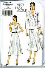 Very Easy Vogue V8179 Sleeveless Dress Princess Seams & Jacket Size 6-8-10-12