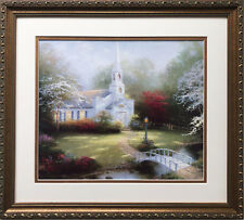 "Thomas Kinkade ""Hometown Chapel "" New CUSTOM FRAMED Art Print LIGHT Church"