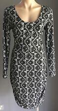 NWT Cut out back FACTORIE Black & Grey Geometric Print Stretch Dress Size L (14)