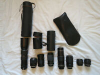 Lot of 8 Minolta mount lenses  Rokkor, Bushnell etc untested for parts or repair