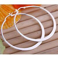 ASAMO Damen Ohrringe flache Creolen Sterling Silber plattiert Ohrschmuck O1043