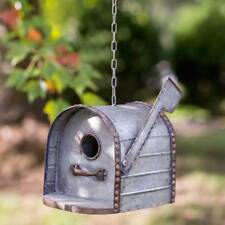 Distressed Rustic Galvanized Metal Mailbox Metal Hanging or Tabletop Birdhouse