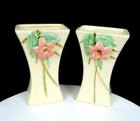 "MCCOY POTTERY USA BLOSSOM TIME OFF WHITE PINK DOGWOOD 2 PC 6 1/2"" VASES 1940'S"