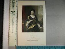 Rare Antique Original VTG 1835 Queen Anne J Cochran Color Engraving Art Print