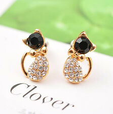 Deluxe Gold Cat Crystal Black Eye Ear Stud Pierced Earrings Women's Jewelry Gift