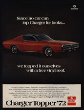 1972 DODGE CHARGER TOPPER Red Muscle Car w/ Free Vinyl Roof VINTAGE AD
