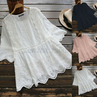 UK Women Summer Short Sleeve Tops Tee Shirt Crochet Floral Lace Blouse Plus Size