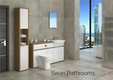 OAK / WHITE GLOSS BATHROOM FITTED FURNITURE WITH TALL UNIT 1900MM