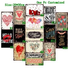 Fall in Love Retro Tin Signs Metal Letter Sign Vintage Hanging Wall Decor Poster