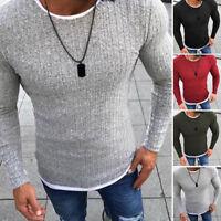 Men's Winter Warm Cotton Round Neck Pullover Jumper Sweater Tops Turtleneck