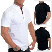 Men's Short Sleeve Shirts Smart Grandad Collar Loops Cotton White Black Blouse