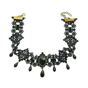 Black Bead Lace Choker Necklace Collar Gothic Victorian Vintage Style Jewellery