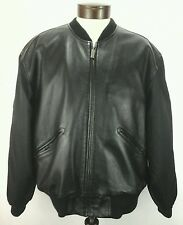 Soft KENNETH COLE REACTION black LEATHER Coat/Jacket/Bomber Sz Large SUPER NICE!