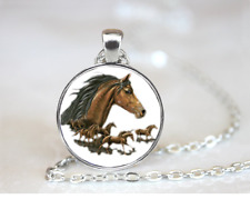 Brown horse PENDANT NECKLACE Chain Glass Tibet Silver Jewellery