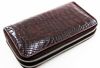 Brown Alligator Genuine Leather Crocodile Skin Women Double Zipper Clutch Wallet