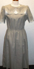 Vintage 70s Leslie Fay Taupe Scalloped Secretary Day Dress