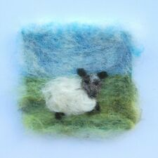 Handmade NeedleFelt Blank Greetings Card or To Frame Wensleydale sheep