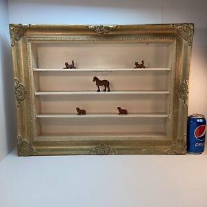 Vtg 1950-60's? SHABBY Gold Curio Miniature Display Shadow Box Wood Ornate Frame