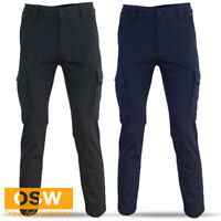MENS NAVY/BLACK COTTON STRETCH SLIM FIT SUPERIOR COMFORTABLE TRADIES WORK PANTS