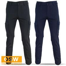 Mens Navy/Black COTTON Stretch SLIM FIT Phone Pocket TRADIES Builder Work Pants