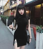 Vintage Gothic Lolita Slim Velvet Black Cool Japanese Harajuku Cheongsam Dress