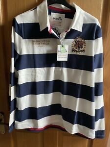 Joules Womens Size 18 Badminton Rugby Shirt - Cream Navy Stripe - BNWT £59.95 🎁