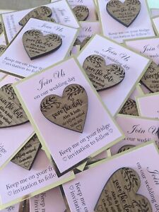 Save the date magnets, wedding save the date, engraved wood hearts wedding