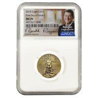 2018 1/4 oz $10 Gold American Eagle NGC MS 70 FDOI Ronald Reagan Facsimile Sign