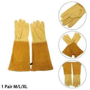 Gardening Gloves Rose Pruning Thorn Cut Proof Bushes Long Leather Gauntlet M-XL