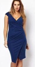 ASOS CURVE 24 Blue Cap Sleeve Faux Wrap Ruched Envelope Asymmetric Hem Dress !!!