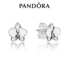 Genuine Pandora White Orchid Stud Earrings 290749EN12
