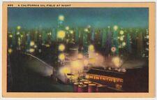 A California Oil Field At Night - Vintage Linen Postcard