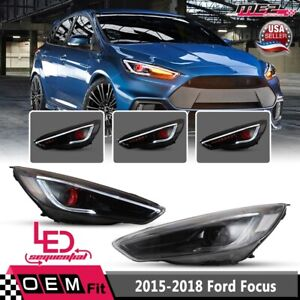 For 15-18 Ford Focus Headlight Sequential Turn Signal LED DRL Red Eyes SET