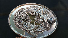 HAND CRAFTED MULTI ORNAMENTED BELT BUCKLE TREE OF LIFE DOVE OF PEACE DESIGN