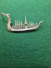 Thai Siam Niello Sterling Silver Suphannahong Royal Barge Boat Brooch
