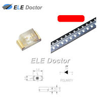 100PCS SMD SMT 0402 (1005) LED Red Light Emitting Diodes Super Bright Chip
