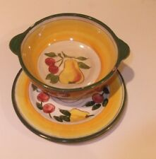 VTG Della-Ware Made in USA Festival Pattern Bowl and Underplate Fruits