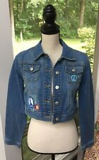 JUSTICE Cropped Stretch Jean Jacket Light Wash Size 16 Peace Sign Embroidered