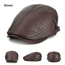 Men's Real Leather 100% Lambskin Brown Beret Gatsby Newsboy Cap Driving Cabbie