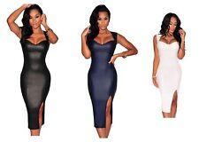 Womens Plus Size Faux Leather Midi Bodycon Dress    12-20   A6