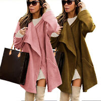 Womens Long Sleeve Winter Casual Knit Jacket Sweater Knitted Lapel Cardigan Coat