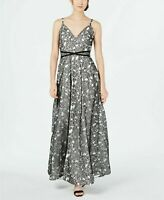 Calvin Klein Women's Black Floral Long Dress Gown Size 14 MSRP $399