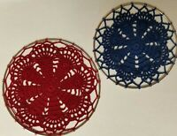 "Patriotic Set (5"" & 6"") Crochet Doily Wall Hanging Dream Catchers, New"