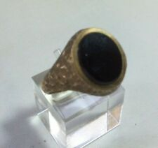 Heavy 9ct Gold Men's Ring with Black Agate Stone Size T.  5.4grams J-0016-CC-W27