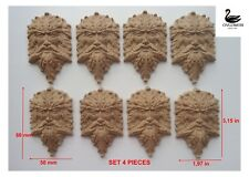 "©Wooden carved  relief mascaron""Forest Head"" set4pc Onlay Applique Sticker Decor"