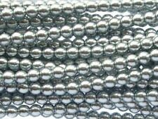 SILVER Czech glass round pearl beads - string of 110 beads - 4mm